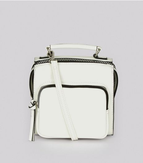 White Chunky Zip Pocket Cross Body Bag | New Look