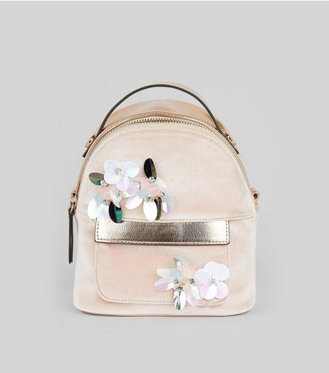 Pink Velvet Embellished Flower Mini Backpack | New Look