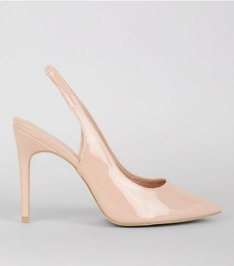 Wide Fit Nude Pink Patent Pointed Sling Back Heels | New Look