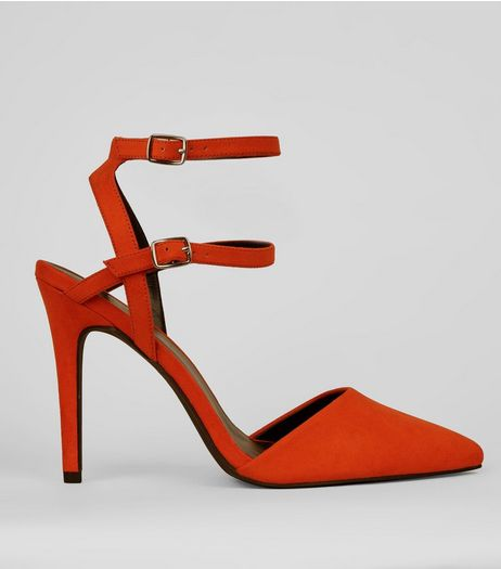 Wide Fit Orange Suedette Double Strap Pointed Heels | New Look