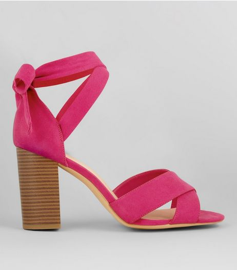 Wide Fit Pink Comfort Suedette Ankle Tie Sandals | New Look