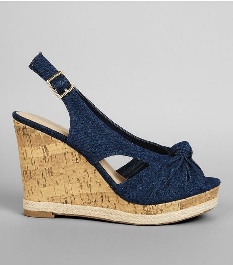 Wide Fit Blue Denim Knot Front Wedge Heels | New Look