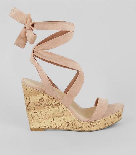 Wide Fit Nude Pink Ankle Tie Heeled Wedge Sandals | New Look