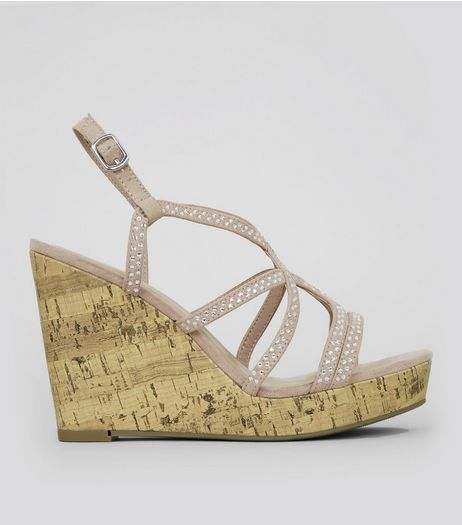 Wide Fit Pink Diamante Cork Wedge Heels | New Look