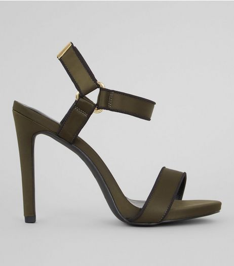 Khaki Satin Velcro Strap Heeled Sandals | New Look