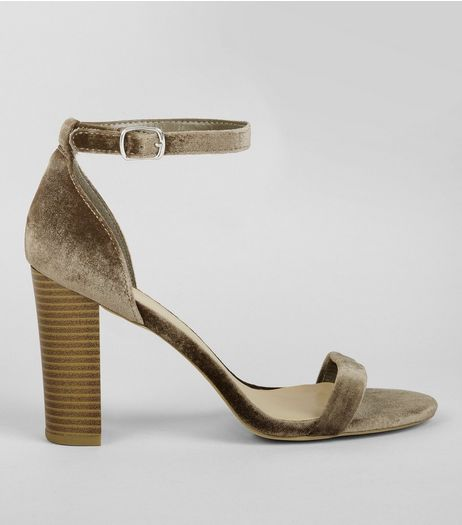 Wide Fit Khaki Velvet Ankle Strap Heels | New Look