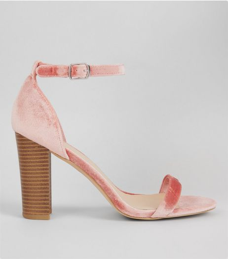 Wide Fit Pink Velvet Ankle Strap Heels | New Look