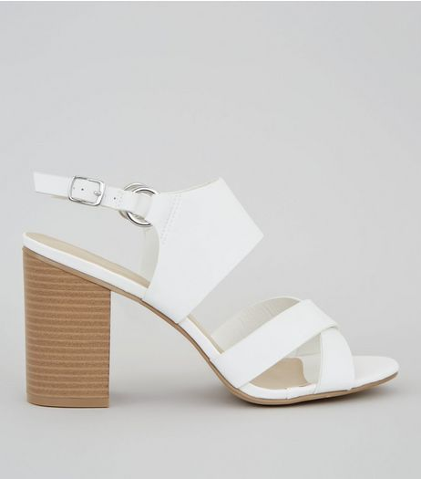 White Cross Strap Sling Back Heels | New Look