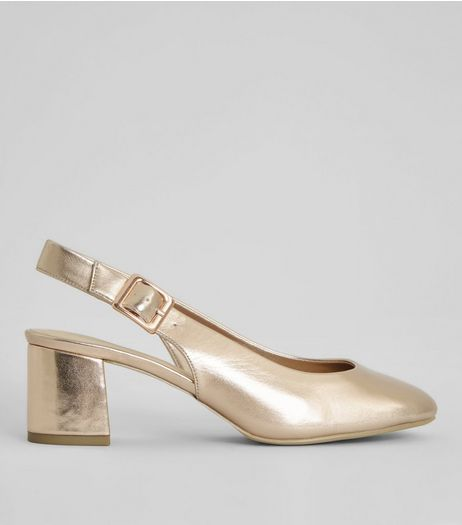 Wide Fit Rose Gold Sling Back Heels | New Look