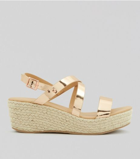 Rose Gold Platform Espadrille Wedge Heels | New Look
