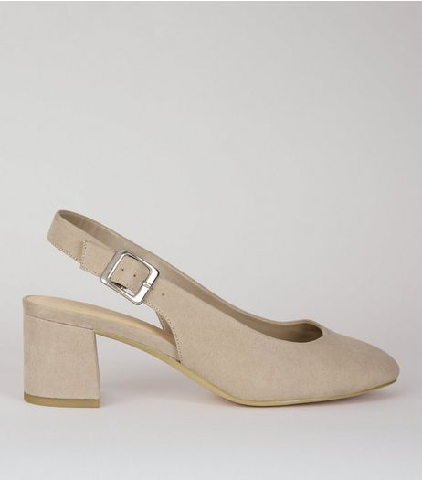 Wide Fit Grey Suedette Sling Back Heels | New Look