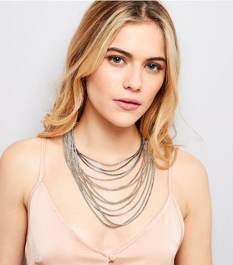Silver Crystal Layered Necklace | New Look