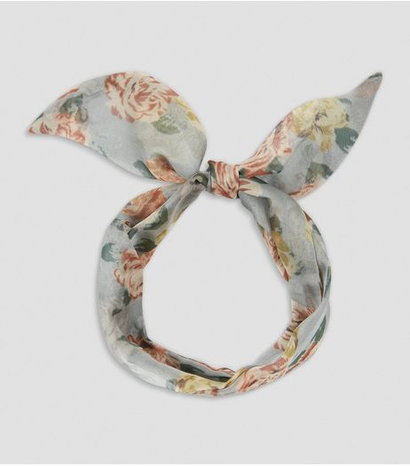 Pale Blue Floral Print Chiffon Necktie | New Look