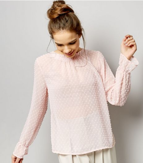 Shell Pink Spot Textured Shirred Neck Chiffon Top | New Look