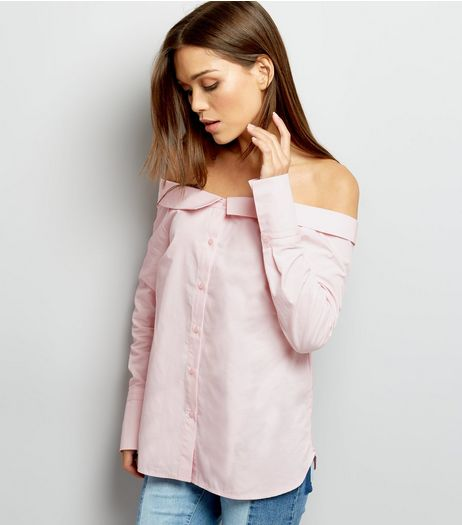 Shell Pink Bardot Neck Long Sleeve Top  | New Look