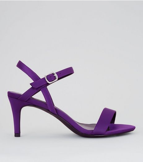 Purple Satin Low Stiletto Heels | New Look