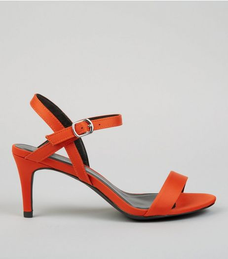 Orange Satin Low Stiletto Heels | New Look