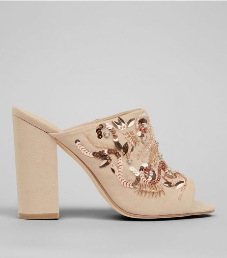 Nude Embellished Block Heeled Mules | New Look