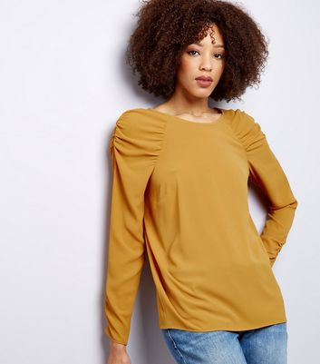 Yellow Gathered Shoulder Long Sleeve Top