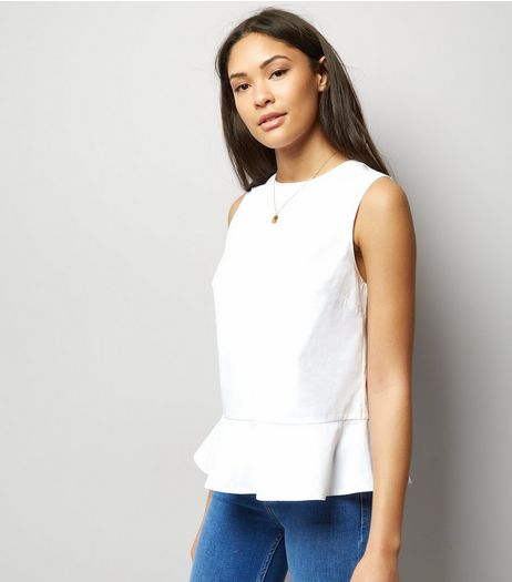 White Frill Peplum Hem Sleeveless Top  | New Look