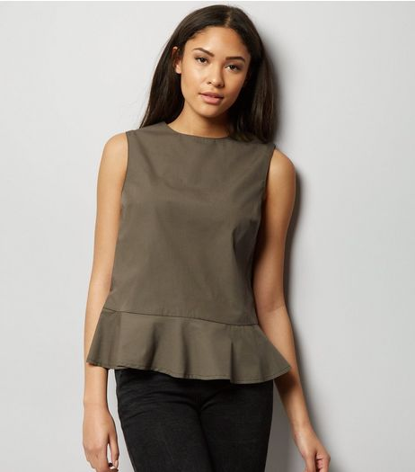 Khaki Frill Peplum Hem Sleeveless Top  | New Look