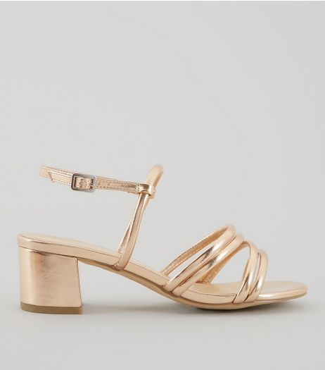 Wide Fit Rose Gold Multi Strap Low Block Heeled Sandals | New Look