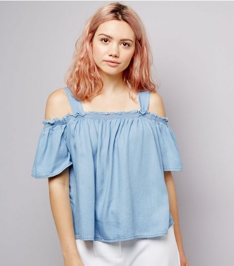 Blue Shirred Cold Shoulder Bardot Neck Top | New Look