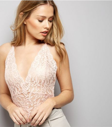 Cameo Rose Pink Lace Bodysuit | New Look