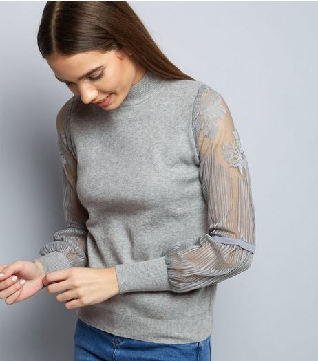 Cameo Rose Grey Lace Sleeve Jumper | New Look