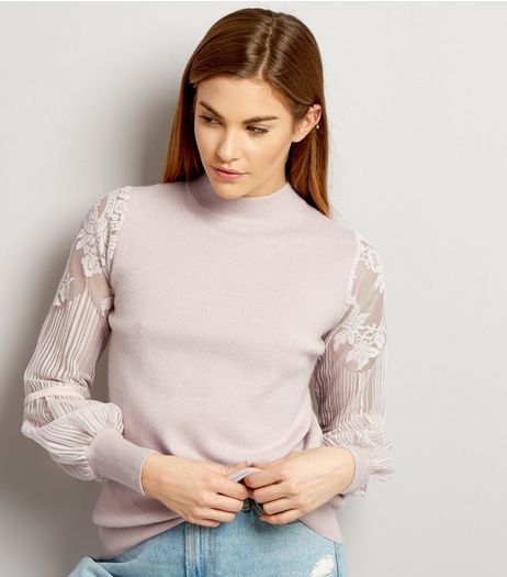 Cameo Rose Lilac Lace Sleeve Jumper | New Look