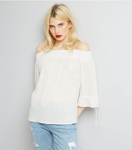 Cream Tie Sleeve Bardot Neck Top | New Look