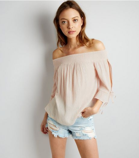 Shell Pink Tie Sleeve Bardot Neck Top  | New Look