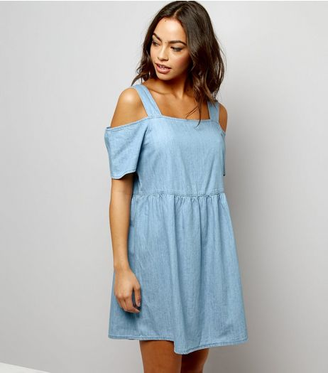 Blue Cold Shoulder Denim Smock Dress  | New Look