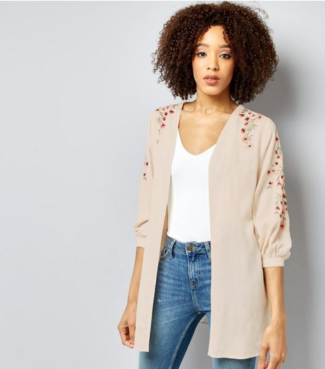 Cream Floral Embroidered Sleeve Kimono  | New Look