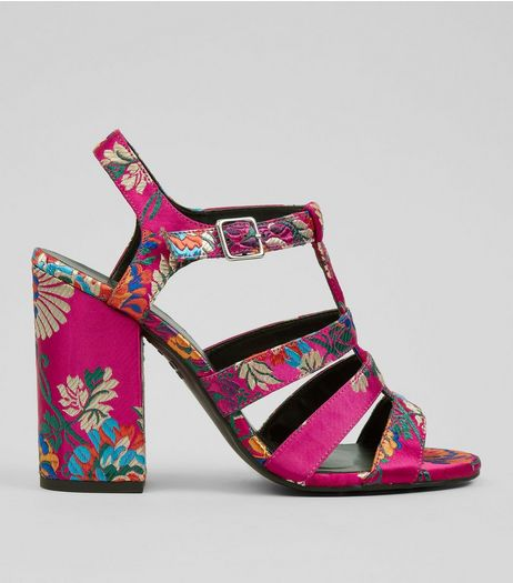 Pink Satin Floral Brocade Gladiator Block Heels | New Look
