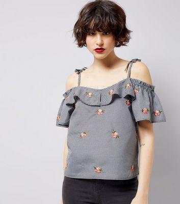 Black Gingham Floral Embroidered Cold Shoulder Top