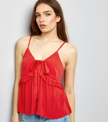 Red Frill Trim Tie Front Cami Top