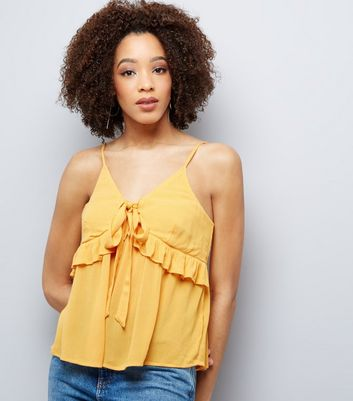 Yellow Frill Trim Tie Front Cami Top