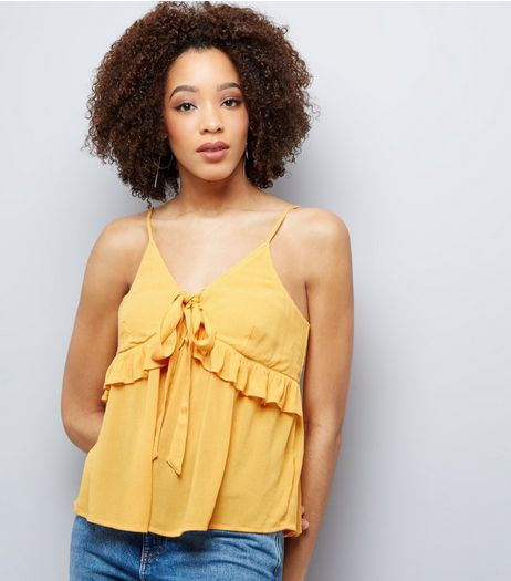 Yellow Frill Trim Tie Front Cami Top  | New Look