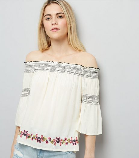Cream Embroidered Bardot Neck Top | New Look