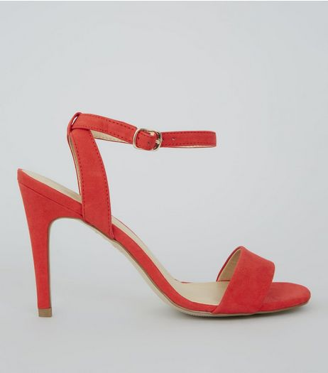 Red Suedette Ankle Strap Heels | New Look