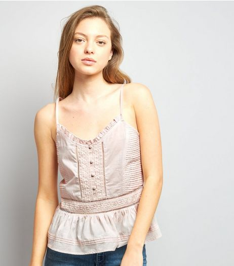 Shell Pink Embroidered Cami Top  | New Look