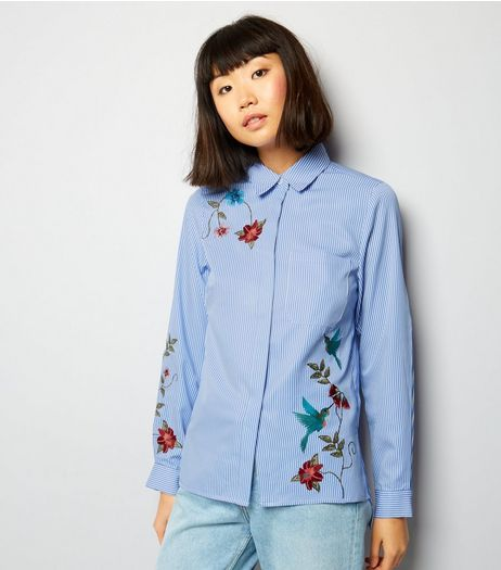 Cameo Rose Blue Floral Embroidered Shirt  | New Look