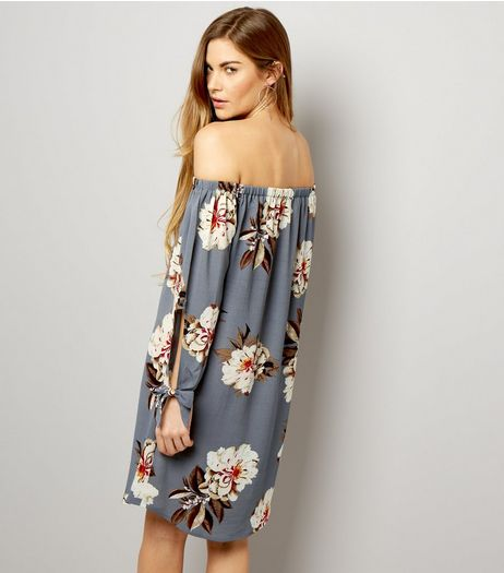 Cameo Rose Grey Floral Print Bardot Dress | New Look