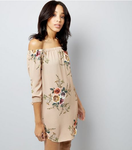 Cameo Rose Stone Floral Print Bardot Neck Dress  | New Look
