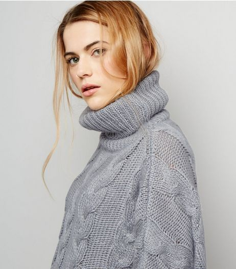 Cameo Rose Grey Cropped Cable Knit Jumper | New Look