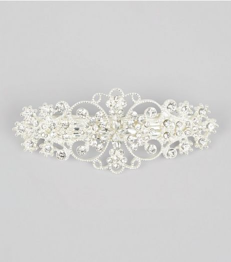 Silver Diamante Flower Barette Hair Clip | New Look
