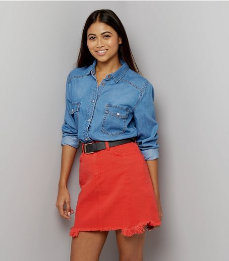 Petite Red Frayed Hem Mini Skirt | New Look