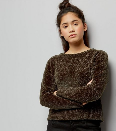Teens Khaki Chenille Cropped Jumper | New Look