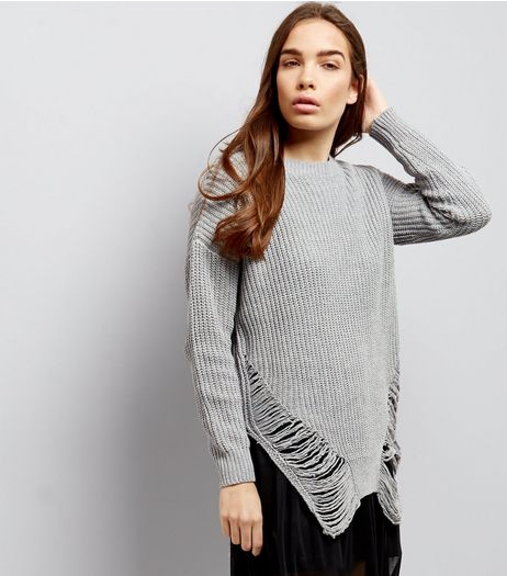 Cameo Rose Pale Grey Ladder Hem Long Sleeve Jumper  | New Look